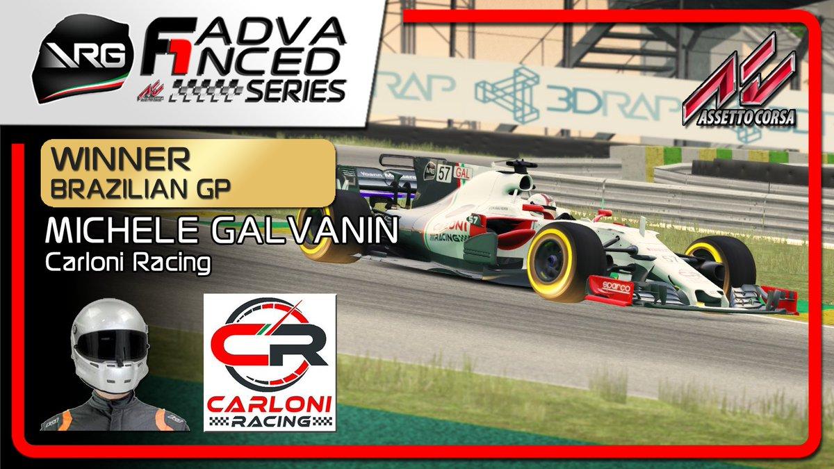 🏆 Winner #F1 Advanced 2019 🏎 @AC_assettocorsa  🇧🇷 Brazilian GP 👨💻 Michele Galvanin 🏅 Carloni Racing #SimRacing #eSports @TREDIRAP