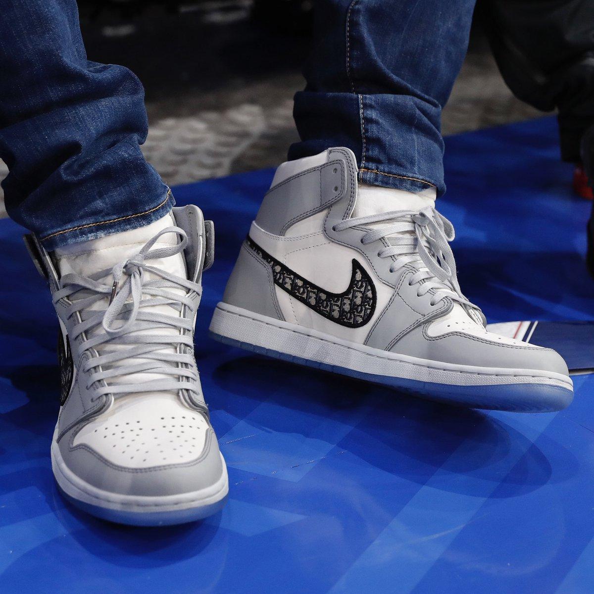 #NBACelebRow 🔥   @KMbappe courtside in Paris wearing Dior x Air Jordan 1's! #NBAKicks