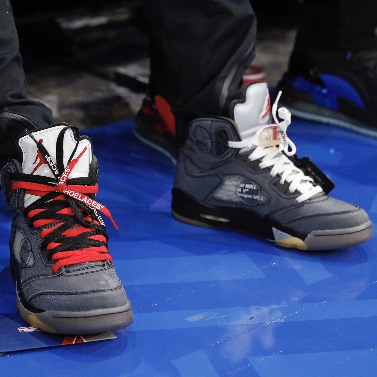 #NBACelebRow 🔥   @neymarjr courtside in Paris wearing Off-White Air Jordan 5's! #NBAKicks