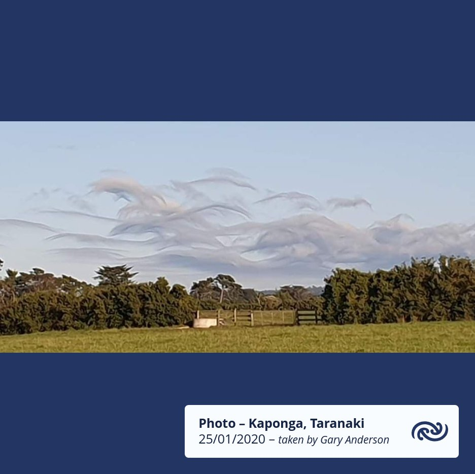 A stable southwest flow has created a unique looking cloud in Taranaki this morning. The photo taken shows a nice example of stratocumulus asperitas. ^KL https://t.co/coKxydZHE5