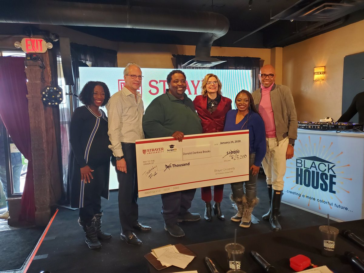 We have a winner! #DankwaBrooks receives $25k(!) for winning the ScriptED live pitch session supported by @StrayerU / #StrayerStudios #Blackhouse2020
