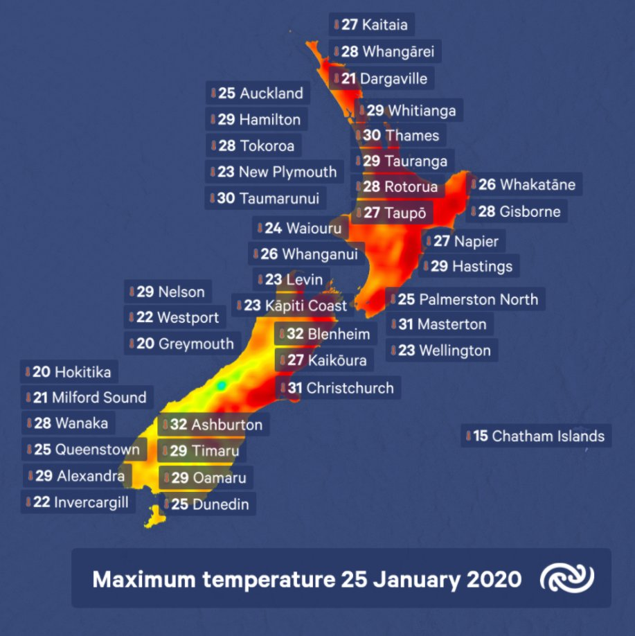 Hot temperatures set for most of New Zealand. Settled weather continues for much of the country this weekend with hot temperatures expected. Northwest winds in the South Island will push temperatures up to 32C for main centres such as Ashburton and Blenheim this afternoon. ^KL https://t.co/3Ji2mCt3wm