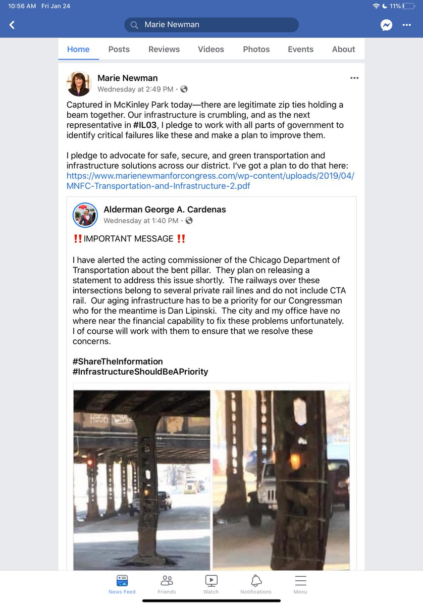 2/2 I know this because I did the work to contact the City & the railroads to find out what's being done to address this. A city inspector determined the bridge is safe. There is more to be done and I'm happy to work on it. Unlike my opponent, I actually get things done. #IL03 <br>http://pic.twitter.com/xOb7xkuBVt