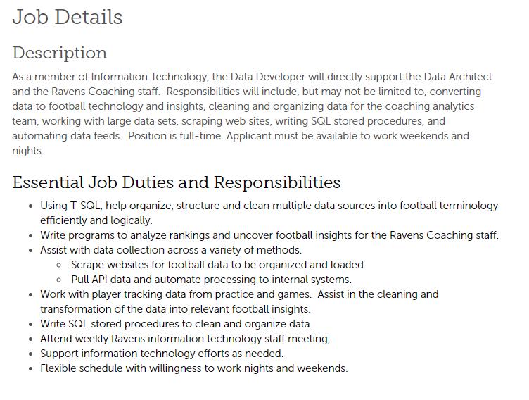NFL analytics jobs alert: the Ravens are hiring a data developer recruiting.ultipro.com/BAL1005BARLP/J…