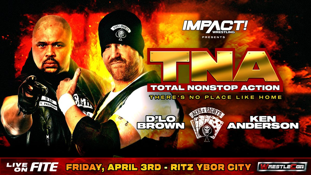 BREAKING: @dlobrown75 and @mrkenanderson representing the Aces and 8s have been officially announced for TNA: There's No Place Like Home on April 3rd as part of @wrestlecon!   Get your tickets HERE: