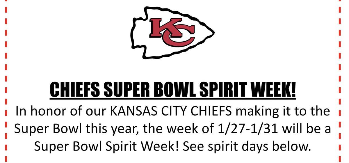 ATTENTION @libertyoaks ! Super Bowl Spirit Week next week! #GoChiefs #SuperBowlLIV<br>http://pic.twitter.com/MeaQu28VSH