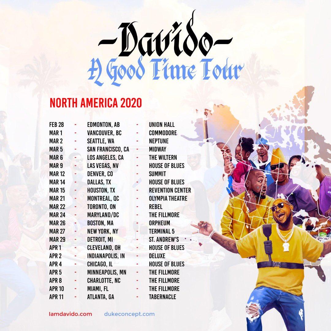 A GOOD TIME US TOUR!!! VENUES ANNOUNCED!! Tickets @ Iamdavido.com and dukeconcept.com !🔥