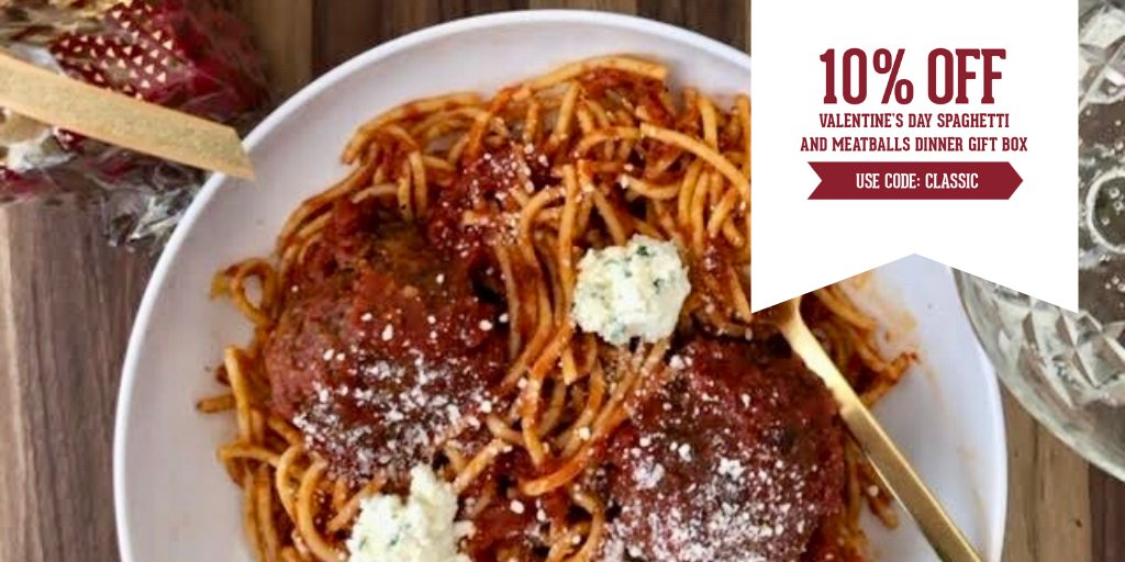 """sfoglini on Twitter: """"Recreate a classic movie dinner scene w/ your  sweetheart this #ValentinesDay🐶🍝🐶 The Valentine's Day Spaghetti &  Meatballs Gift Box will help you get started in cooking up a scrumptious #"""