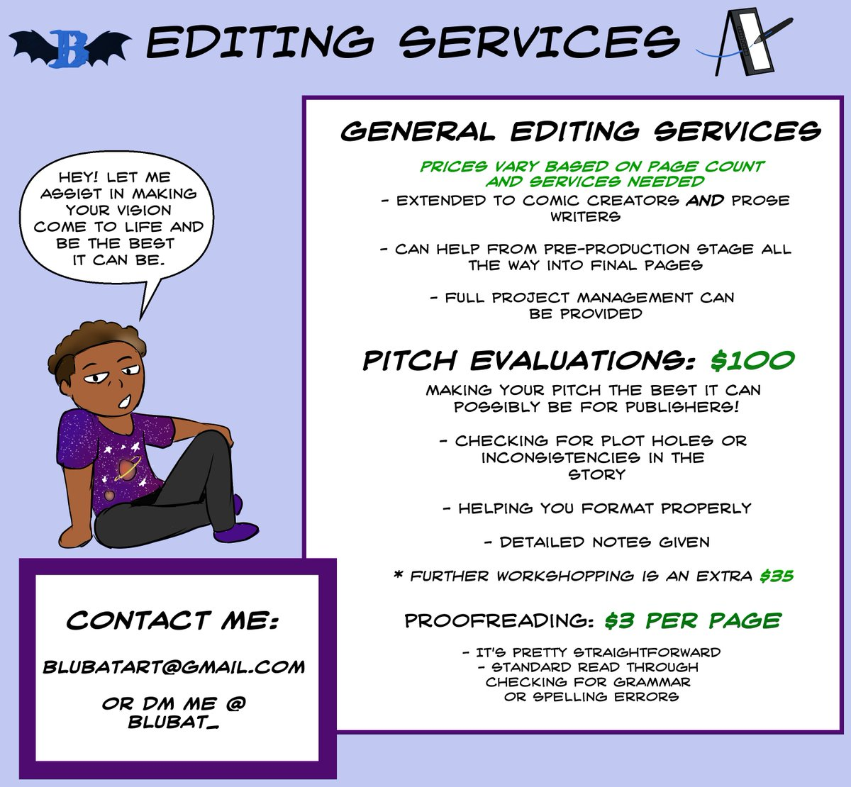 Alright comic creators and prose writers, I'm available for freelance editing! Get the assist you need while you can! Email me at blubatart [@] https://t.co/FzYOkufe5v or DM me! https://t.co/qa7mMgidIL