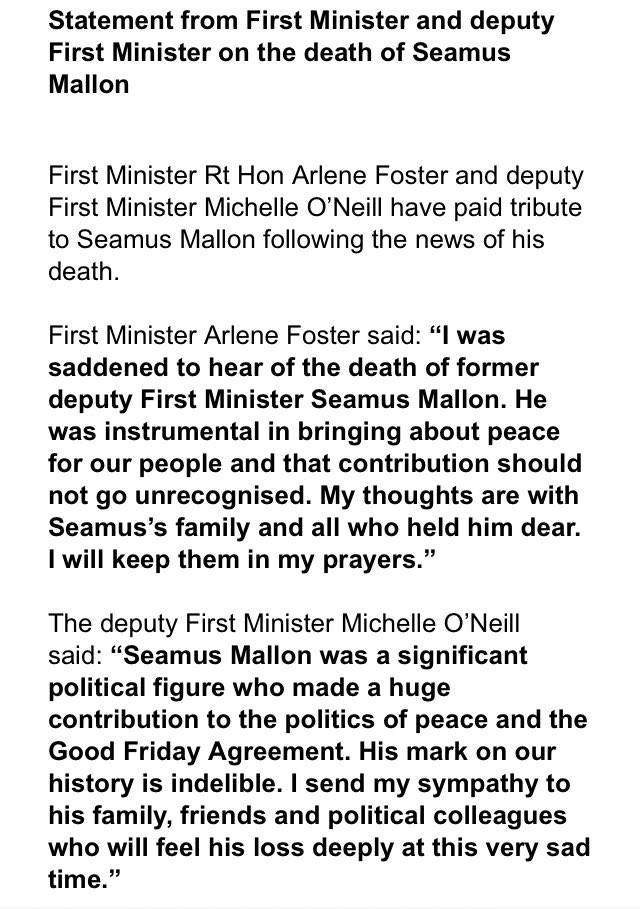 First Minister Arlene Foster and Deputy First Minister Michelle O'Neill issue joint statement in tribute to their predecessor Seamus Mallon, who has died, aged 83.