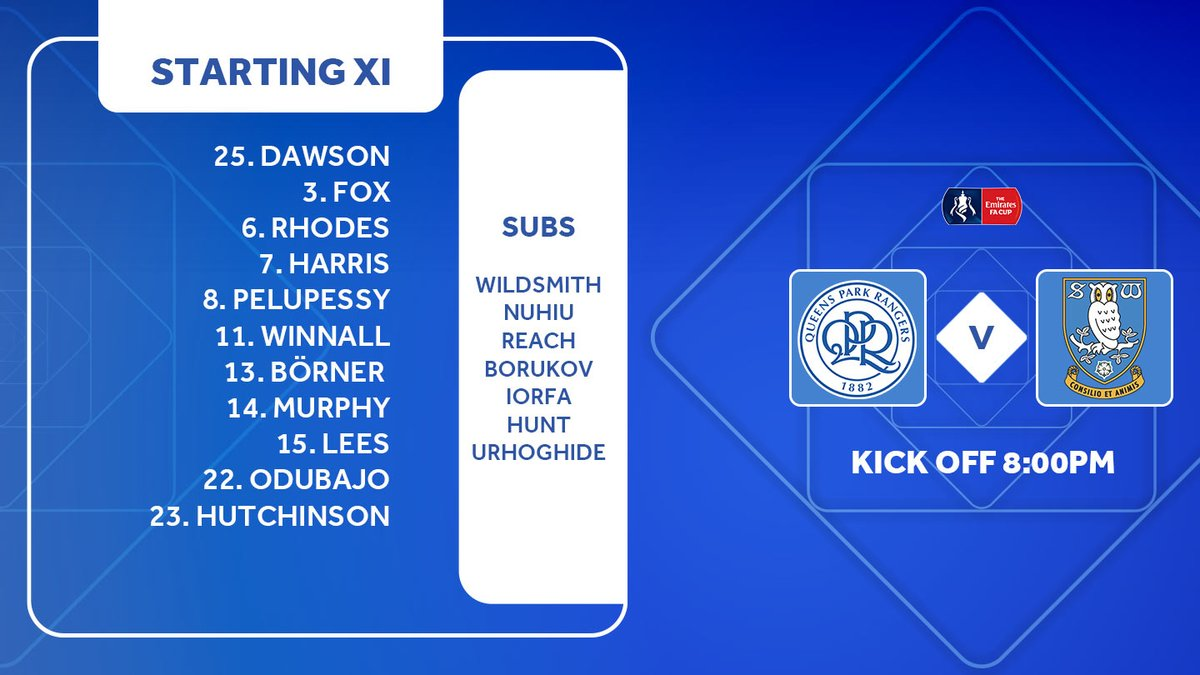🚨 TEAM NEWS! Heres how we line-up in tonights @EmiratesFACup clash with @QPR! Team news in association with @Ladbrokes #swfcLIVE