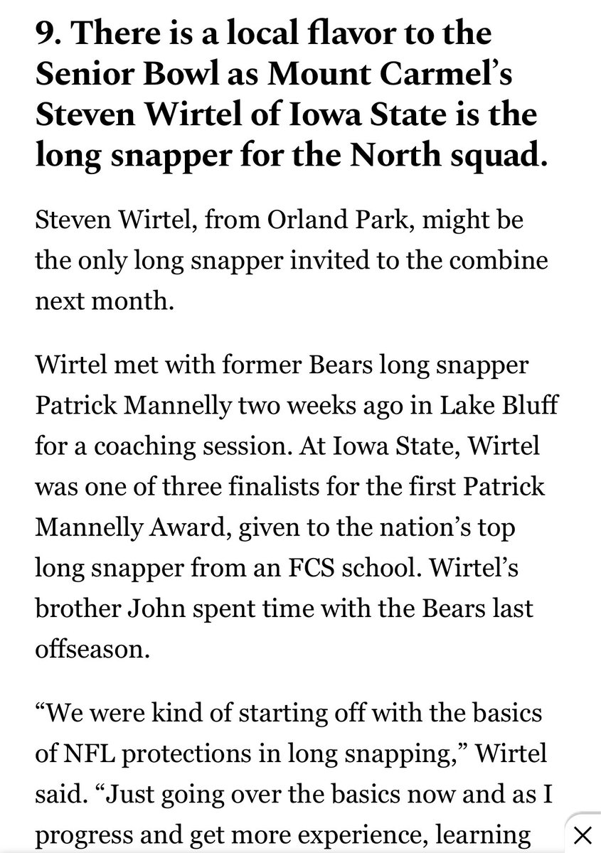 Nice write-up in The Chicago Tribune on finalist Steven Wirtel at the Senior Bowl.