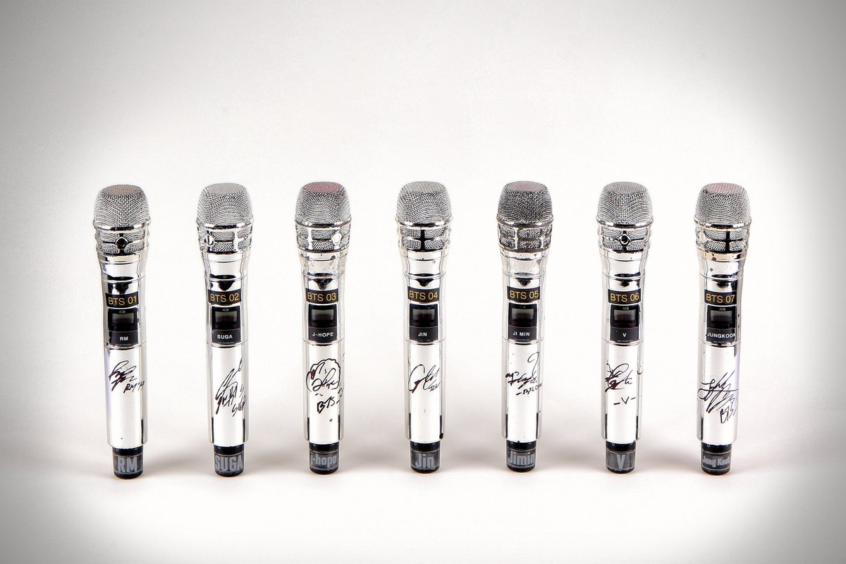 SOLD for $83,200! A group of seven custom Shure microphones from BTS (방탄소년단) used by RM, Jin, SUGA, j-hope, Jimin, V, and Jung kook. Sold today in our MusiCares®' 30th Anniversary Person Of The Year Online Charity Auction. #JuliensAuctions #MusiCares #Auction #BTS  @BTS_twt<br>http://pic.twitter.com/uhMAX1AFjR