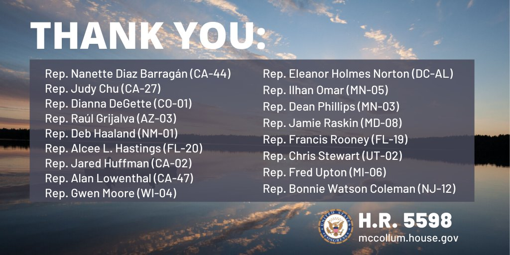 Thank you to my colleagues in Congress who have signed on as co-sponsors of #HR5598! Just like the Grand Canyon, Bears Ears National Monument, or Yosemite National Park, the #BWCA is a special place worthy of permanent protection. #SaveTheseWaters