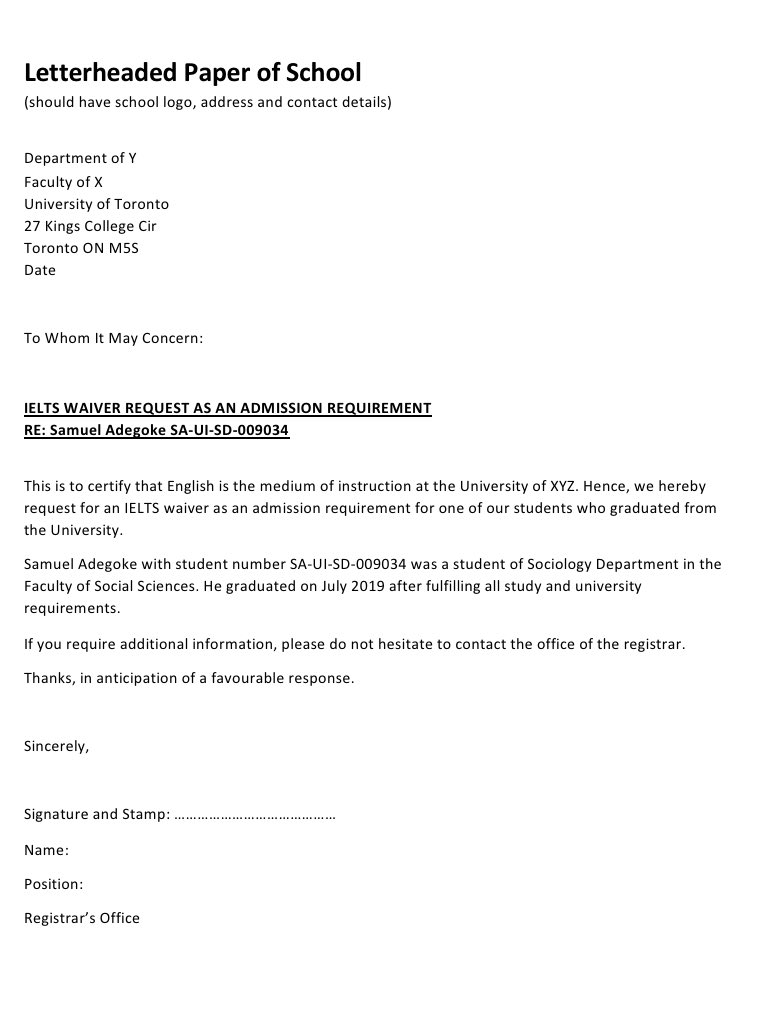 Are you looking to apply for a school program outside Nigeria?   Is IELTS one of the admission requirements?  Have you already studied in Nigeria?  Then you can submit an IELTS waiver/ exemption letter by requesting one from your school in Nigeria.  Can be as simple as sample: https://t.co/Hy0nOzDBvu