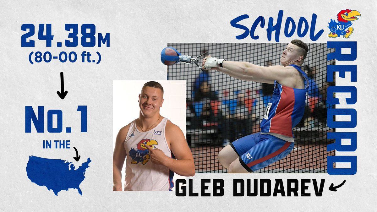 Ladies and Gents, @dudarev_gleb just did that 😳 #KUTrack  𝟮𝟰.𝟯𝟴𝗺 (𝟴𝟬-𝟬𝟬 𝗳𝘁.)  ▪️ No. 11 mark in NCAA history ▪️ Becomes the No. 5 performer in NCAA history ▪️ School Record ▪️ Facilty Record ▪️ NCAA lead