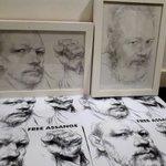 Portraits of Julian Assange by @DanielFooksArt ready for the 'Scotland Must Resist - Don't Extradite Assange' event in Edinburgh tomorrow. #FreeAssange #Artists4Assange