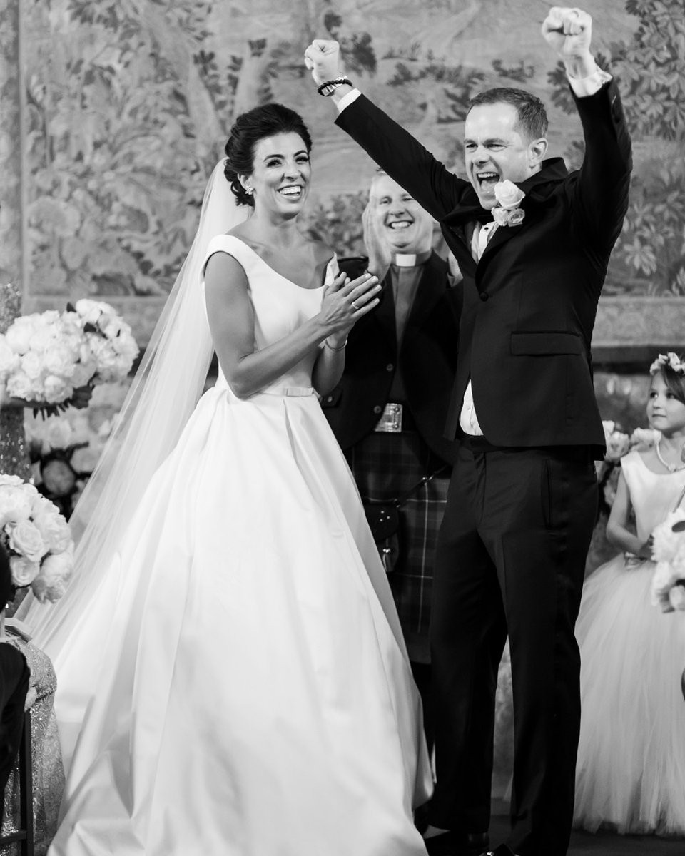That moment when you get announced as husband and wife...  Photograph by Craig and Eva Sanders  #dundascastle #photography #weddingphotography #scottishcastle #scottishweddingvenue #weddingvenue