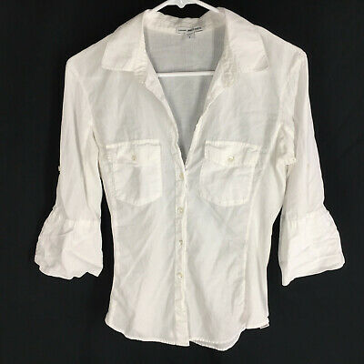 Standard JAMES PERSE White Shirt Size 3 Soft Cotton Button Front Womens  #ebay #fashion