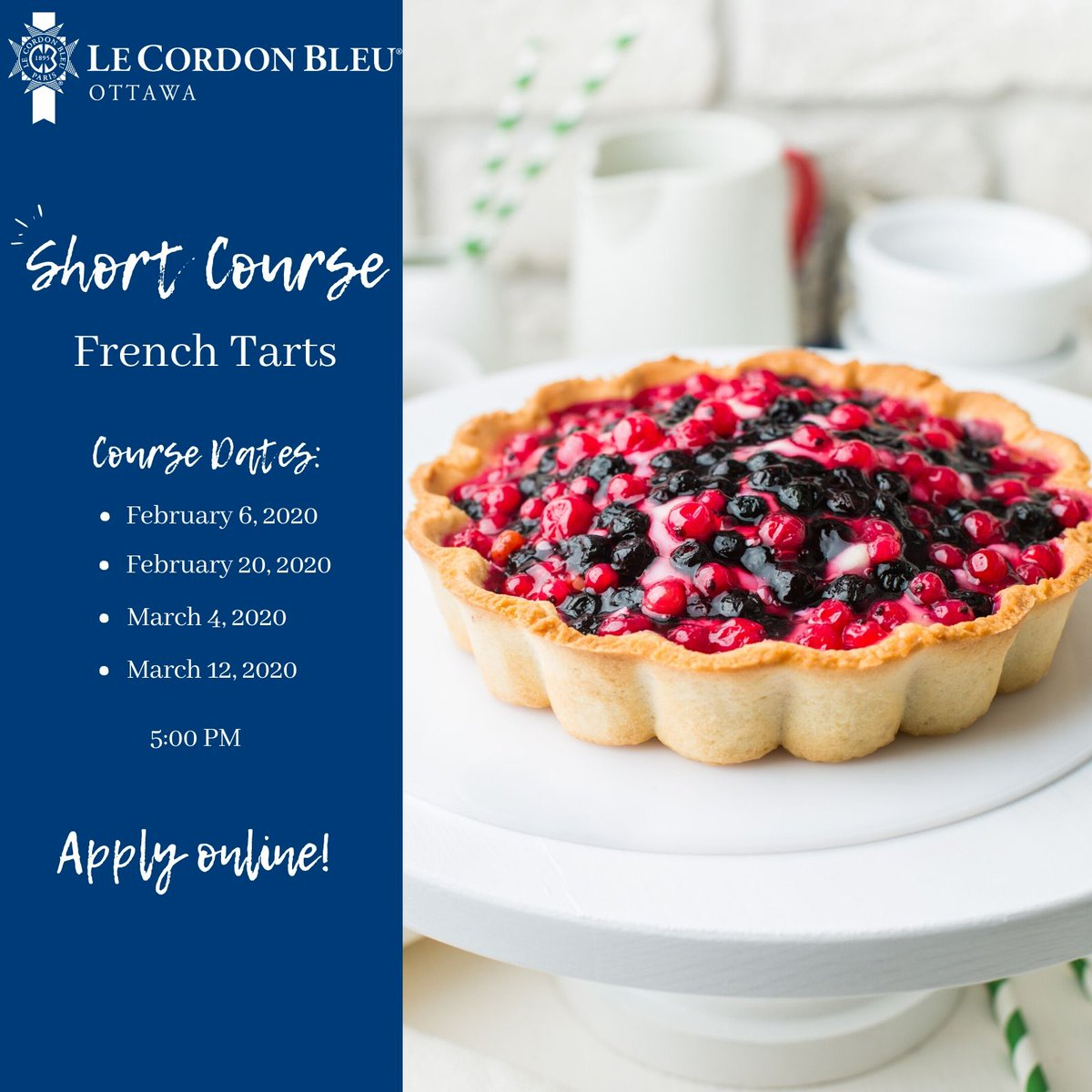 Short Course - #FrenchTarts. In this class, you will learn how to prepare a seasonal tart. Experience #LeCordonBleuOttawa Short Courses and apply online! http://lcbl.eu/9e5    #OttawaEvents #OttawaFoodies #MyOttawa #ottawaeats #baking #pastry #pastrychefpic.twitter.com/gD3Kjo4Hqv