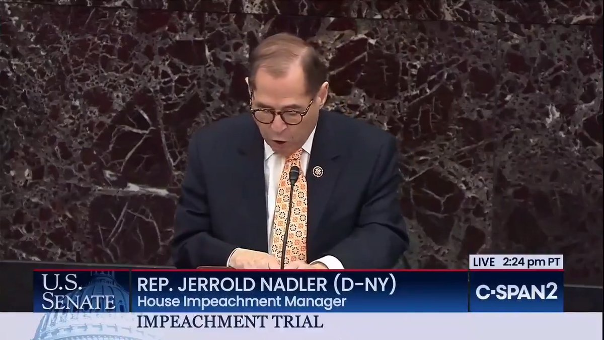"""The Impeachment Clause exists to protect our freedom and our democracy.  It exists to remind Presidents that they serve the public; not the other way around.   It is a reminder to Presidents that they answer to something greater than themselves."" - @RepJerryNadler"