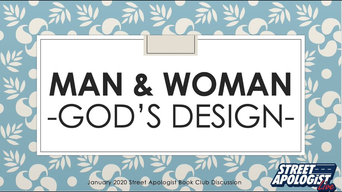 "Book club livestream TONIGHT! Discussing Chapter 3 of ""God's Design for Man and Woman: A Biblical-Theological Survey."" Download here http://cway.to/1nlwE7w   2020/1/24 11:00 PM EST  https://youtu.be/EmkUjJrbgpw   PLEASE RETWEET #Apologetics #BookClub #BiblicalManhood #BiblicalWomanhood pic.twitter.com/zPvUmd2nEw"