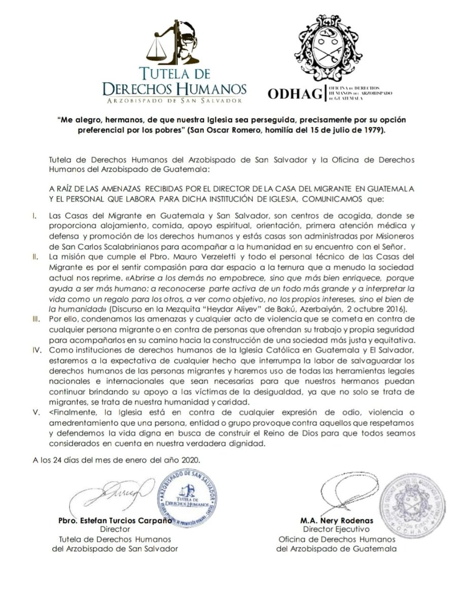 test Twitter Media - Tutela de Derechos Humanos del Arzobispado de El Salvador y la ODHAG se han pronunciado en favor del Padre Mauro Verzeletti y la labor de Casa del Migrante, luego que esta semana recibieron amenazas. https://t.co/Go5qCyvjsl