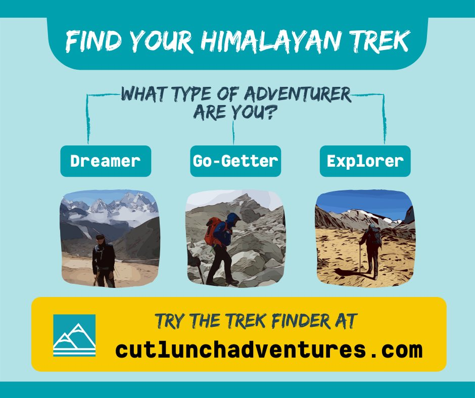 Try our new TREK FINDER for the Himalayas. A fun easy way to find a trek that suits you! We designed this with help from our good friend and Himalayan expert @adetnw . Enjoy your trek! https://www.cutlunchadventures.com/trek-finder/himalayas/…  #trekking #hiking #himalayas #mountains #highaltitude