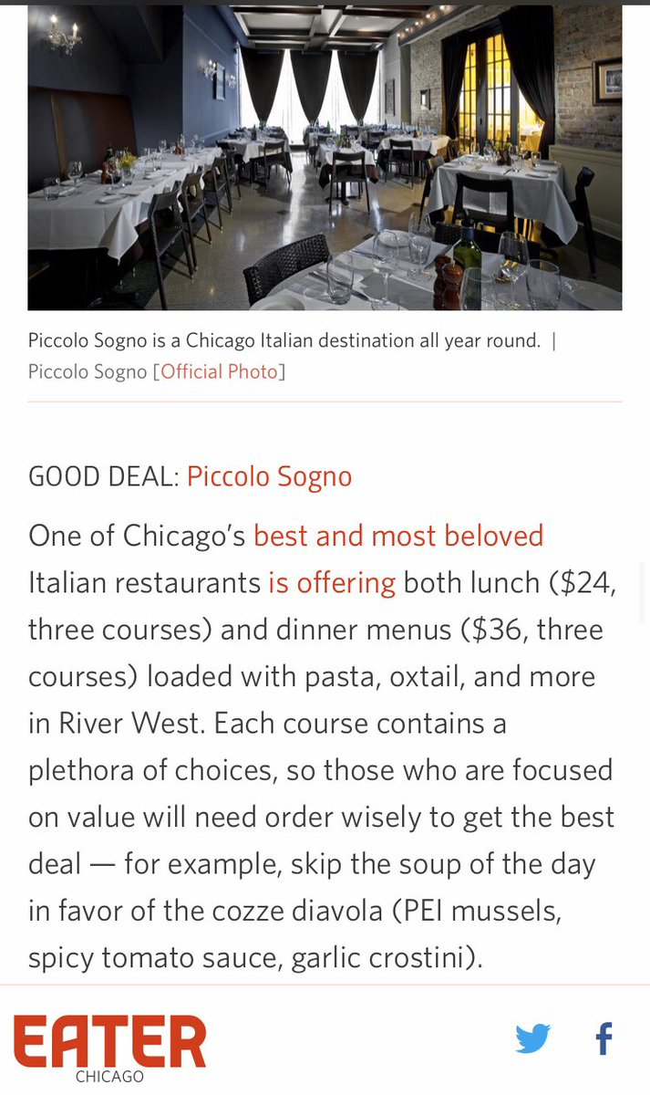 @eaterchicago @Eater thanks for the feature! Looking forward to everyone joining us for Chicago Restaurant week! $24 lunch & $36 dinner each 3 courses. #ChicagoRestaurantWeek #chicago #foodie