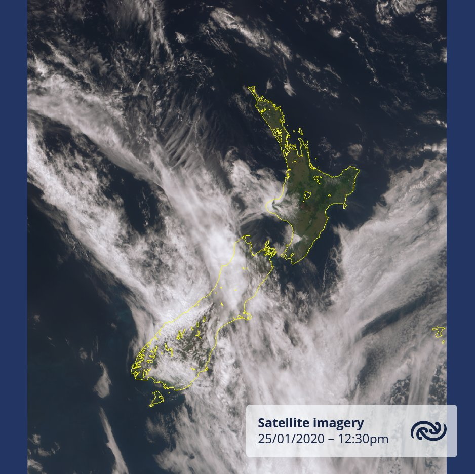 Satellite imagery around midday to show the contrast between the South and North Islands. A weak front lies over the South Island bringing wet weather to parts of the Island, while much of the North Island is experiencing blue skies today. ^KL https://t.co/Gcb8Y7IC8C