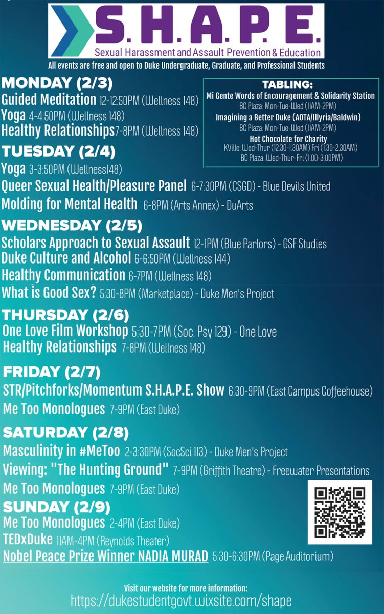 The Sexual Harassment and Assault Prevention & Education (S.H.A.P.E.) Week is a collaboration between campus groups and departments committed to ending sexual assault in the Duke community. Events will take place from February 3-9, 2020.