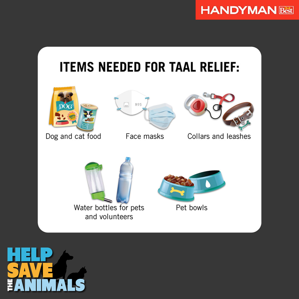 #Manila | You can now drop off donations to help animals affected by #TaalVolcano at Handyman Robinsons Place Las Piñas & Handyman Trinoma!Or at PETA's headquarters: Unit 706, Fedman Suites, 199 Salcedo St., Legazpi Village, Makati (Mon-Fri, 10am-6.30pm) http://petaasia.com/taal