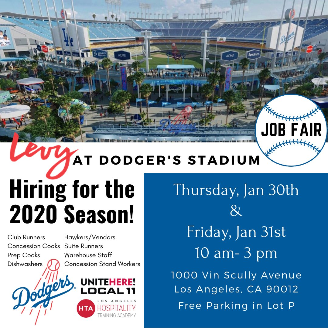 Are you a @Dodgers fan? Join @DodgerStadiumFB for @LevyRestaurants #hiring event! #SaveTheDate 550 #jobs available! #Lableedsblue #losangelesjobs #dodgerstadiumfood #jobfair @UNITEHERE11 #unionjobs #dodgerstadium #dodgers #2020season – at Dodger Stadium