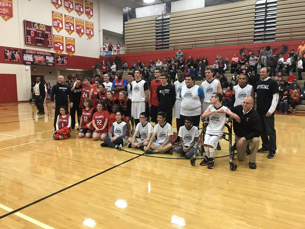 What a treat to watch these student-athletes compete? Way to go @TSD_Athletics #OneTroy unified basketball is great for the community!
