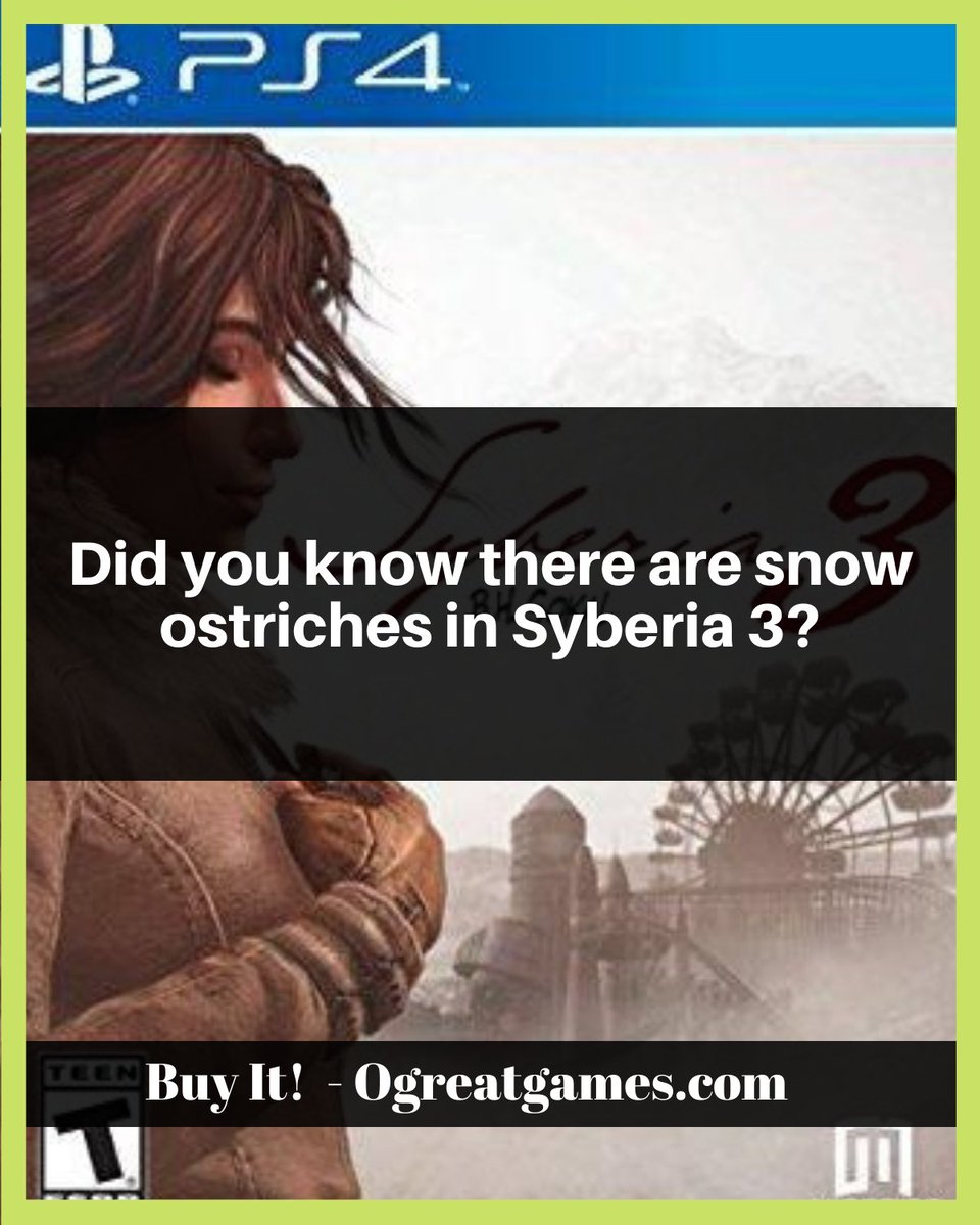 Did you know there are snow ostriches in Syberia 3? https://ogreatgames.com/products/syberia-3 … #playstation4 #games #facts #snow #gamers