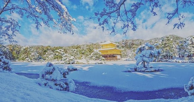 Golden Pavilion with snow! ❄️   #japanication #welovejapan #japan #japanese #kyoto #goldenpavilion #kinkakuji #history #tradition #winter #snow #travel