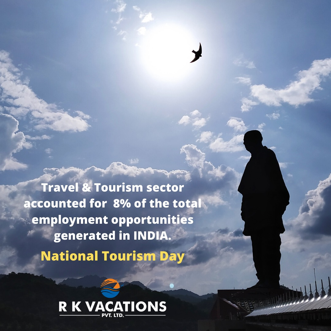 Travel and Tourism Sector accounted for 8% of the total employment opportunities generated in INDIA. National Tourism Day. #rkvacations #nationaltourismday #tourismday #happynationaltourismday #tourism #nationaltour #travel #adventure #explore
