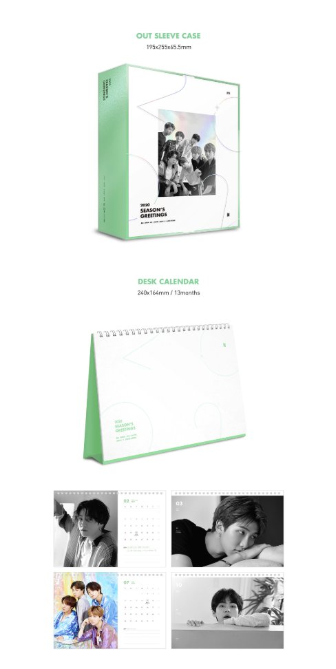 ⚠ PLS HELP RT ⚠BTS SEASONS GREETINGS 2020Outbox - 1806 Ring Diary + Stickers - 900Desk Calendar + DVD - 500Mini Poster Set - 400 Greetings Card Set - 400ID Photo Set - 280PAYMENT UPON ARRIVAL (1st week if feb)comment mine + item