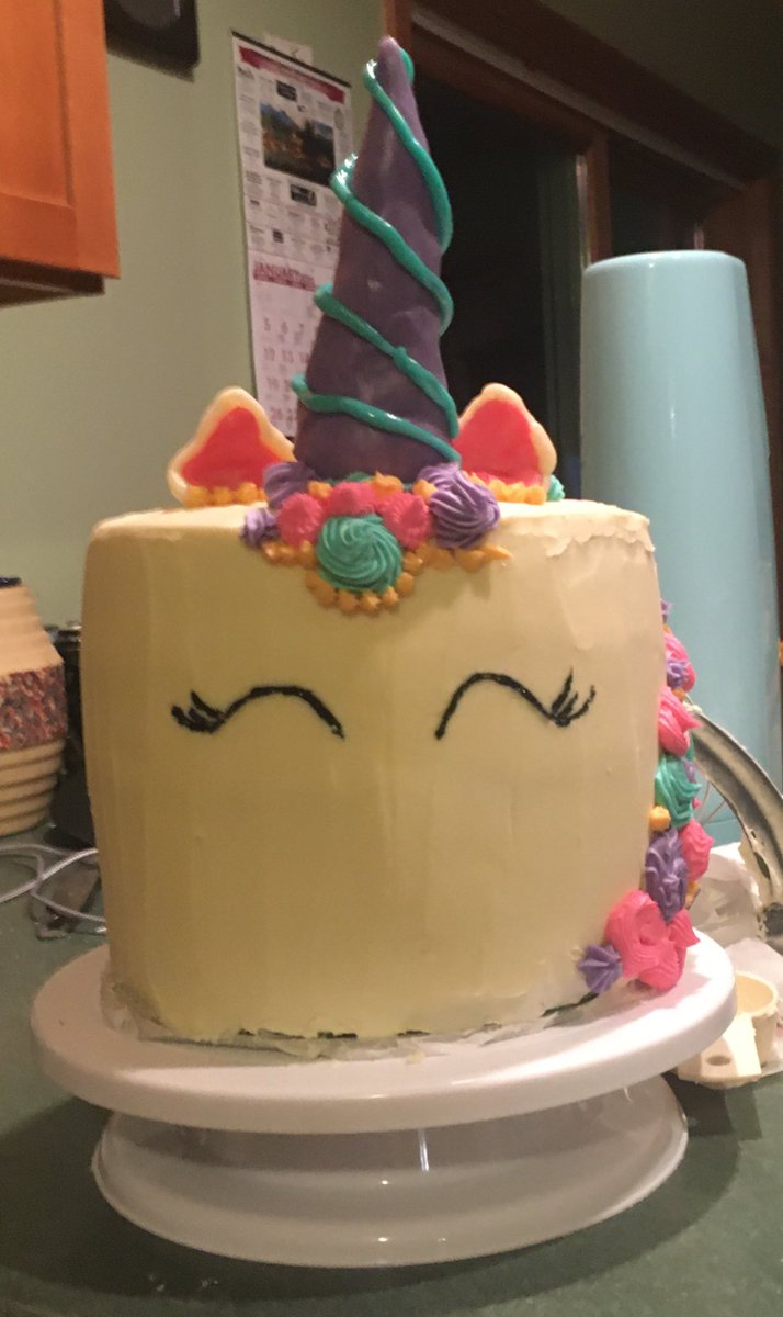 For those who have joined me on my  cake adventure, here is the end result! First ever unicorn cake and I am pretty damn proud of it! Vanilla cake, vanilla buttercream, homemade modeling chocolate horn and ears. The saddest part is that I don't get to eat any of it <br>http://pic.twitter.com/qAYYvJKKRT