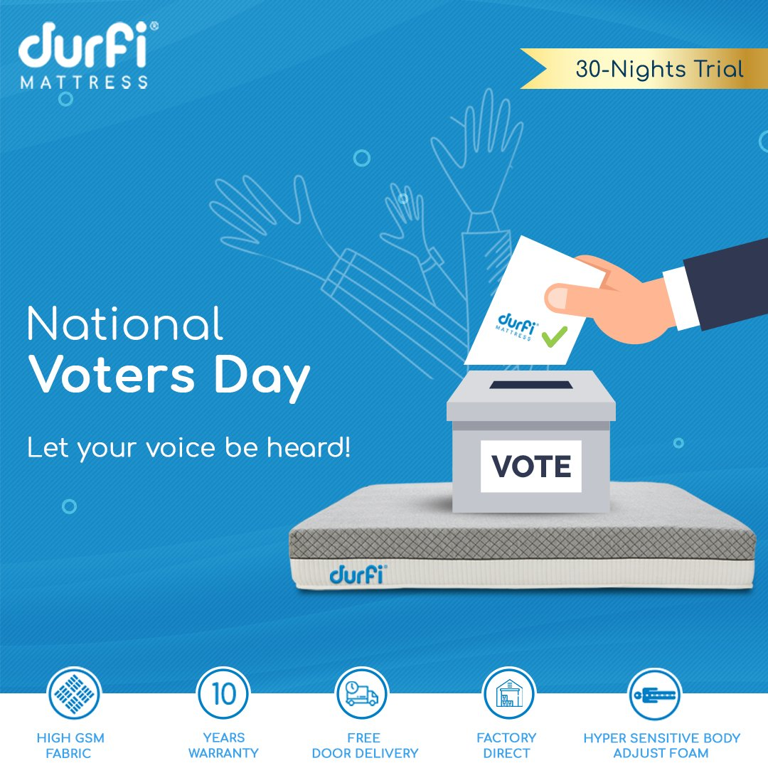 Believe in the power of your vote, it can make your voice heard. #Durfi extends its greetings on National Voters Day! ... https://www.durfi.com/ ... #NationalVotersDay #DurfiMattress #India #voting #votingrights #SwitchtoDurfi #Mattress #dreams