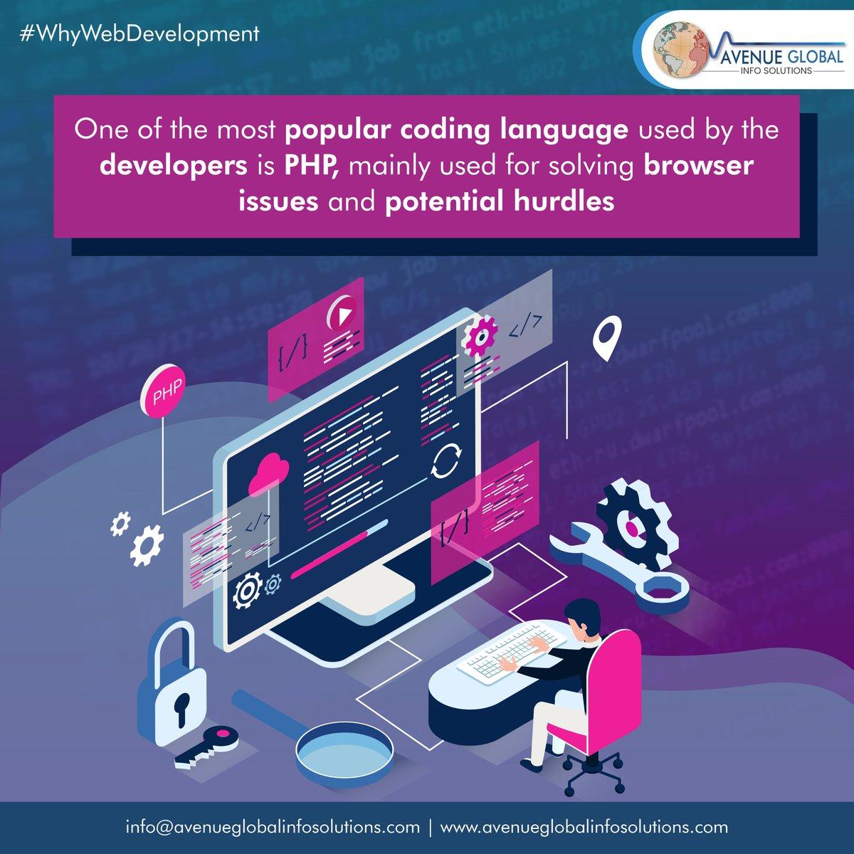 One of the most used language use by Developers is PHP!  #whywebdevelopment #webdesigncompany #websitedeveloper #webdesigntips #instatech #instatechno #socialmediamarketing #Avenueglobalinfosolutions #avenueglobal #AGIS #Webdesigning #Digitalmarketing #Websitedevelopmentpic.twitter.com/ngw3t6TeIj