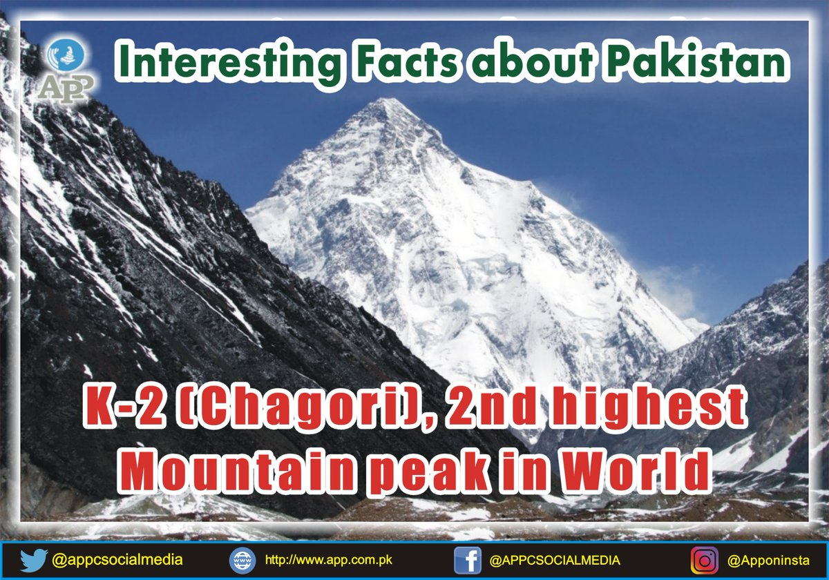 🇵🇰🇵🇰⛰️⛰️ #K2 (#Chagori) is the highest mountain peak in #Pakistan & the 2nd highest #Mountain peak in the #world  #APPNews #BeautifulPakistan  @MoIB_Official @Dr_FirdousPTI @mophrd @ShehryarAfridi1 @ShireenMazari1 @UNWTO @Pakistan_tour @zlj517 @CPEC_Official @tourism