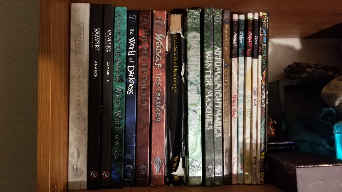 My collection grows! Soon I'll have The Armory. My next WoD purchase plans are as follows:  A new Changling The Lost The Summer and Spring courts Demon: The Fallen V20 Chicago V5  Purchased and waiting on: Fall of London Cults of the Blood Gods  Any recomendations? #ttrpg #vamily<br>http://pic.twitter.com/H4ZeWRU5Cd