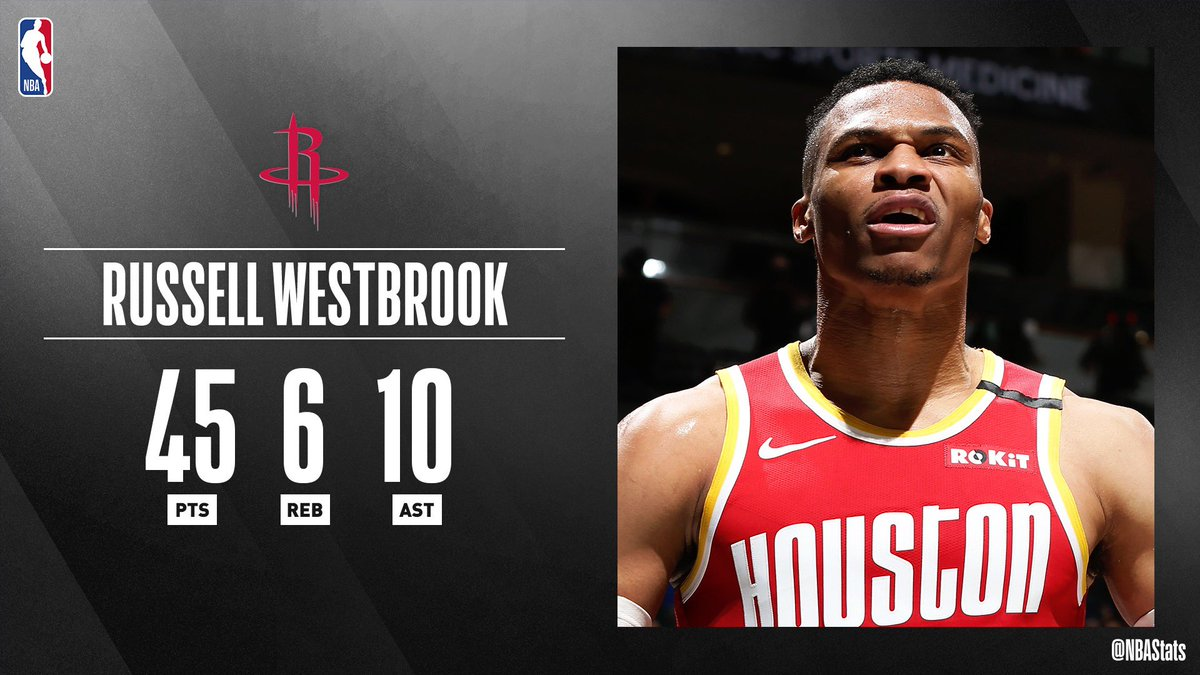 Russell Westbrook fills up the box score with a season-high 45 PTS (16-27 FGM), 6 REB, 10 AST in the @HoustonRockets win! #SAPStatLineOfTheNight
