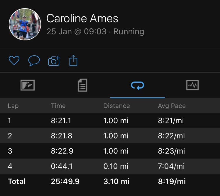 Almost achieved the impossible of perfect mile times this morning. Seriously 1 second!!! @marathontalk 😱