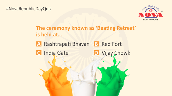 Question 7  Celebrate this #RepublicDay by taking part in the #republicdaycontest & stand a chance to win a gift hamper from #NovaDairy. Answer all the questions correctly using #NovaRepublicDayQuiz. Participate, share & tag your friends.  #Contest #ContestAlert #RepublicDay2020
