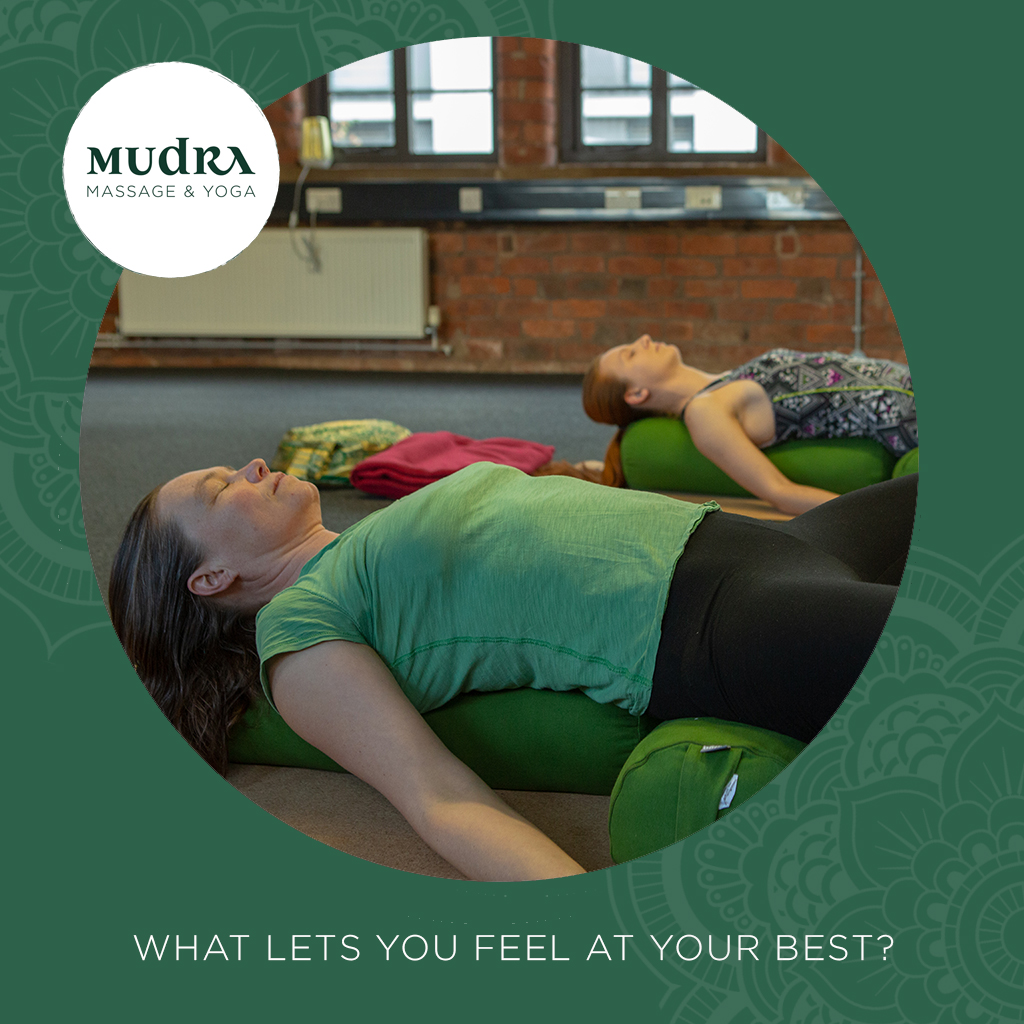 What lets you feel at your best? Whether it's keeping #fit or feeling relaxed, here at Mudra we've got you covered with both #yoga and massage to let you feel well. Take a look at our timetable to choose your next class. #Sheffield
