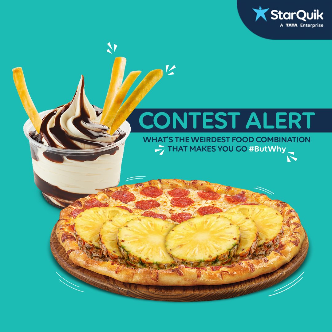#ContestAlert Steps to participate: 1. Follow us 2. Comment the weirdest food combination 3. Tag your friends 4. Retweet this post  Note: The person with the maximum number of likes wins #Contest #QuikContest #ButWhy #AasaanGrocery #GroceryApp #Grocery #Groceries #GroceryDelivery
