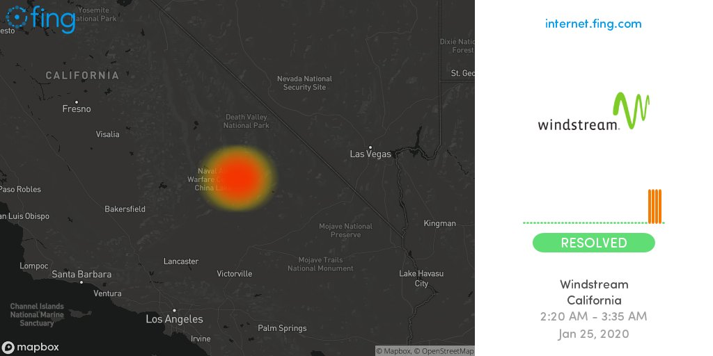 🆗 Considerable Internet #outage ended: #Windstream in #California since 2:20 AM resolved after one hour, 15 min, impacting #Trona  🇺🇸 Live map and analysis 👉   #talk2windstream #Windstreamdown #Windstreamoutage #Windstreamup #night