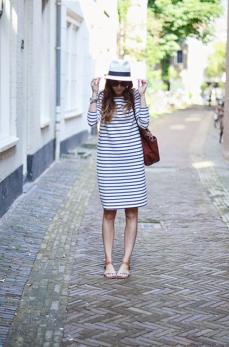 A lovely look that features a trilby hat, knee-length black-white striped dress and cuffed flat sandals. #fashion #style #love #like #instagood #follow #photography #photooftheday #model #beautiful #art #beauty #fashionblogger